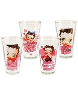 Betty Boop Four Piece 16 oz. Art Images and Quotes Glass Set, NEW UNUSED - $26.11