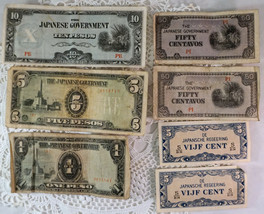 Japanese Occupation Currency 1 5 10 Peso 50 Centavos 5 VIJF Cent - $15.99