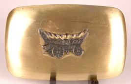 Covered Wagon Belt Buckle-Metal-Chambers Belt Co. USA-Vtg Western-Fits 1... - $23.36