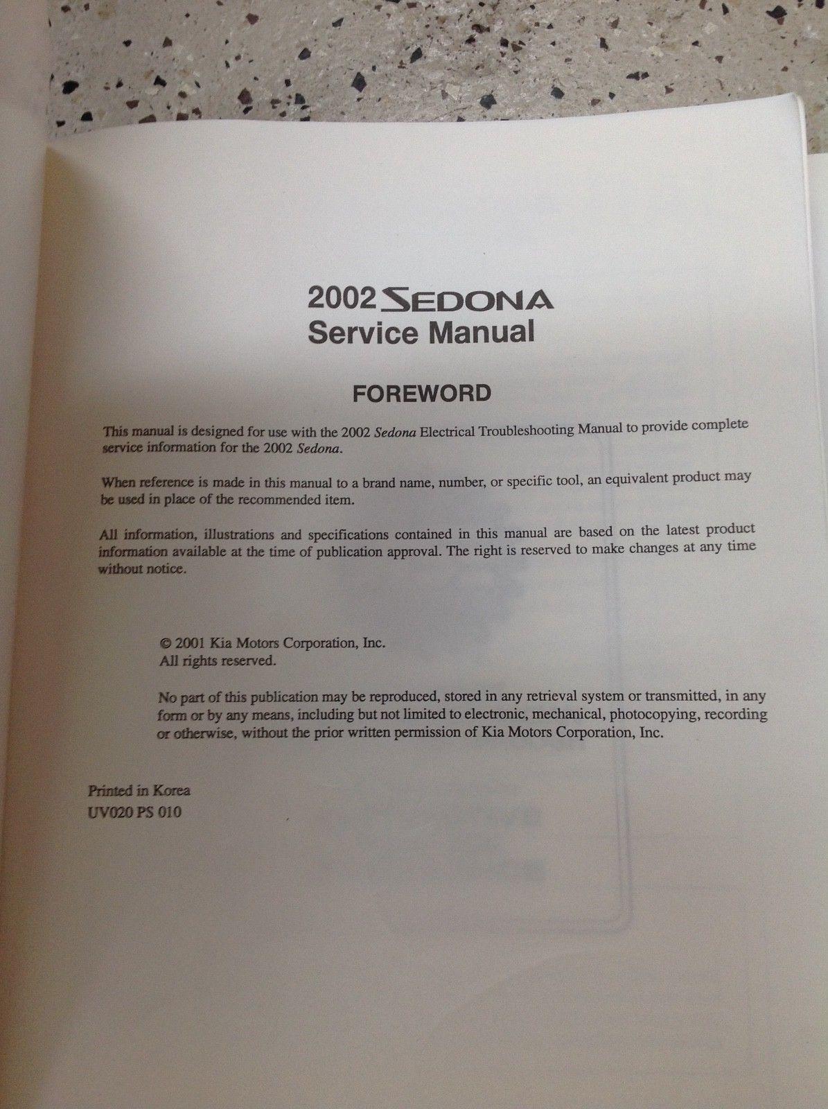 ... 2002 KIA Sedona Service Repair Shop Workshop Manual Factory OEM Set W  ETM ...