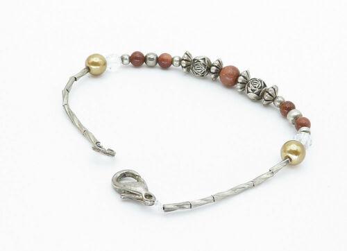 925 Sterling Silver - Vintage Goldstone & Gold Pearl Bead Chain Bracelet - B5822