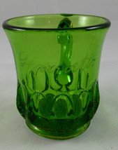 "Antique ""HARRIETT""  GREEN PATTERN Glass Souvenir  MINI MUG     G17 - $9.89"