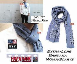 HAV-A-HANK Chambray Blue XLONG PAISLEY BANDANA SCARF SCARVE WRAP NECK 16... - $21.99