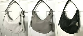 Michael Kors Cassie MD Crescent Shoulder Hobo Bag in Crossgrain Leather - $102.15