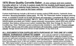 1976 Chevy CORVETTE SABER for sale in Burnt Hills, NY 12027 image 11