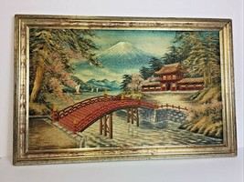 VINTAGE ASIAN HAND EMBROIDERED MOUNTAINS,HOUSE FRAMED FINE WALL ART - $148.30
