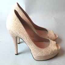 K-0921322 New Gucci Crocodile Skin Beige Women Open Toe Heels Size 36 US 6 - $484.99