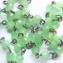 1 ft Pale Geen Rosary Chain Faceted Glass Czech Beads Linked Religious 6mm - $5.99