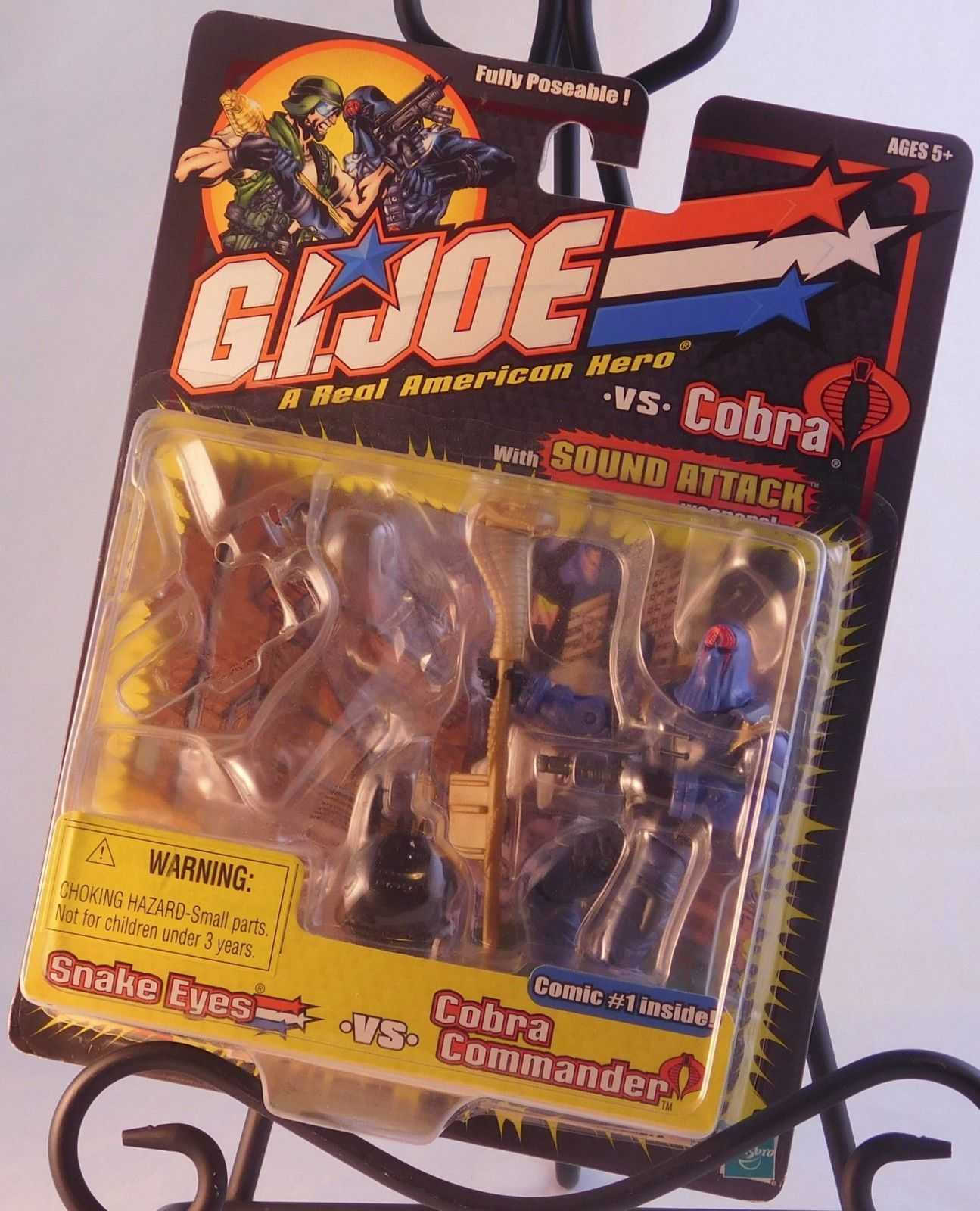 "G.I. Joe vs Cobra - Cobra Commander 3 3/4"" Action Figure w/ Staff, Gun, Backpack"