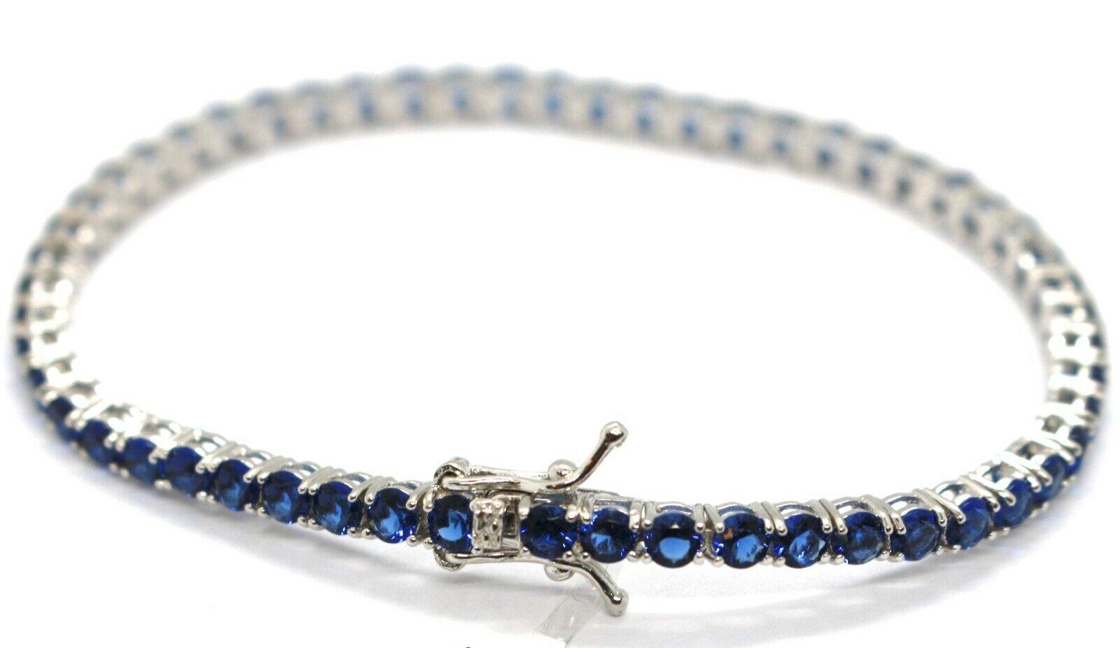 Armband Tennis Silber 925, Zirkonia Kubische Blau 3 mm, Länge 18 CM