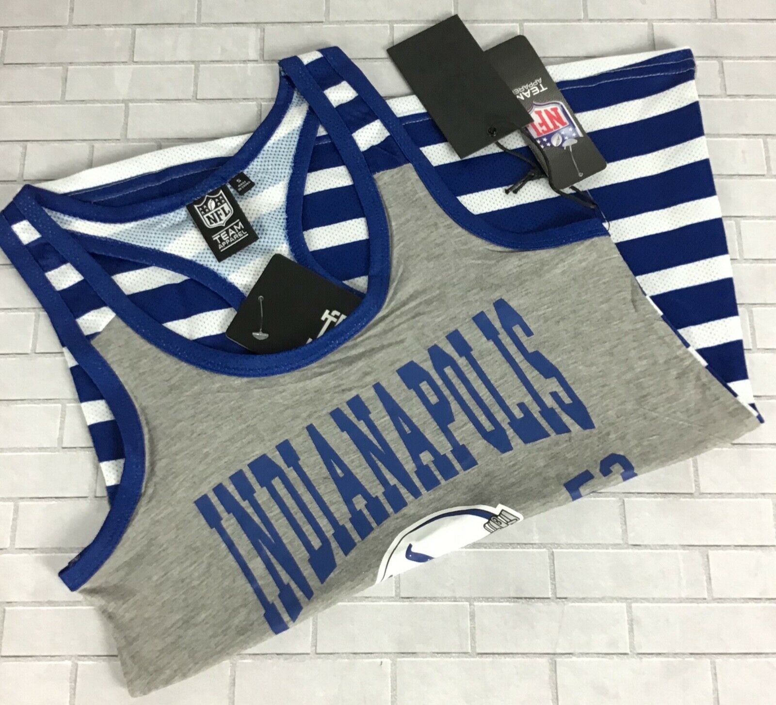 Primary image for Indianapolis Colts Striped Tank Top Women Sz S Racerback NFL Team Apparel C5-1