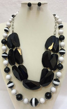 Bead Necklaces & Earrings Black & White Silver Tone Metal Graduated Size Lot 3 - $24.74
