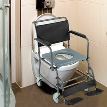 Durable Medical Transport Toilet Commode Wheelchair w/Locking Wheel Casters - $140.59
