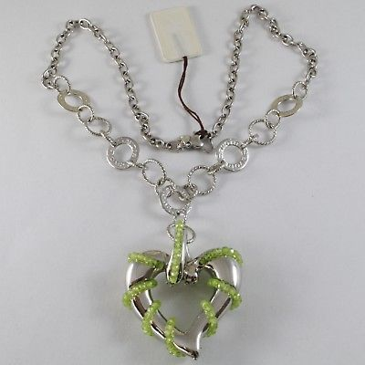 SILVER 925 NECKLACE WITH HANGING CHARM BIG HEART MILLED AND PERIDOT GREEN