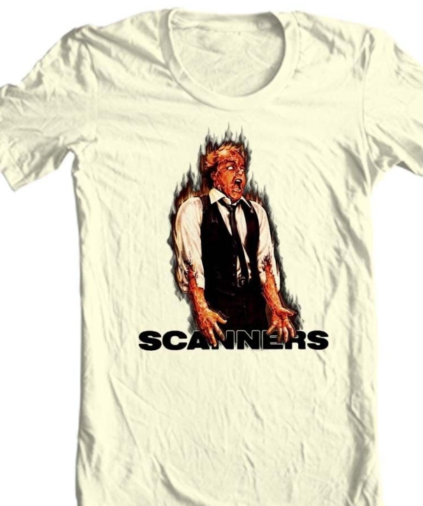 SCANNERS t-shirt retro horror film 80's 100 % cotton graphic tee
