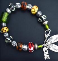 Colourful Bracelet, Murano Glass Bracelet, Peace, Love, 8 1/2 Inch (B117) - $22.99