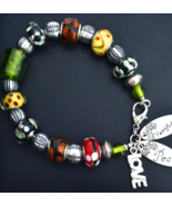 Colourful Bracelet, beaded Bracelet, Peace, Love, 8 1/2 Inch (B117) - $22.99
