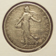 KM#844 1918 Silver French Franc F #0046 - $3.99