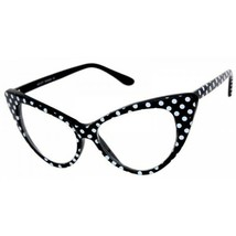 VINTAGE RETRO CAT EYE Style Clear Lens EYE GLASSES Black & White Polka D... - $16.48
