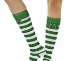 St Patricks Day Green Striped Shamrock KNEE High SOCK costume attire dress up