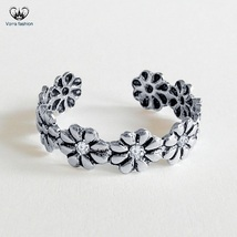 Flower Design Women's Adjustable Toe Ring Round Cut White CZ 925 Sterlin... - $9.99