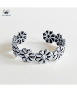 Flower Design Women's Adjustable Toe Ring Round Cut White CZ 925 Sterlin... - £8.19 GBP