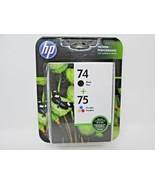 HP 75 Tri-Color 74 Black Ink Set CC659FN New Genuine Combo Pack Exp 9/2018 - $19.99