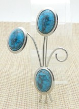 Faux Turquoise Flower Large Silver Tone Pin Brooch Vintage - $24.74