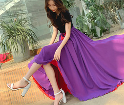 Women High Waist Floor Length Chiffon Skirt Purple Red Chiffon Bridesmaid Skirt  image 8