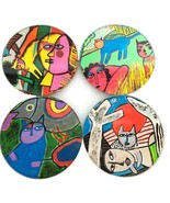 Guillaume Corneille Cat Abstract Paintings Bar Drink Glass Coasters Set ... - $32.93