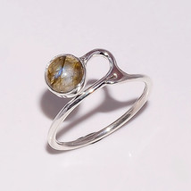 LABRADORITE NATURAL FIRE 6 MM ROUND 925 STERLING SILVER 6 US RING - £6.46 GBP