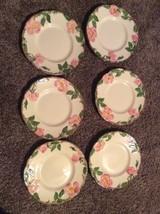 """Set Of 6 Franciscan Earthenware Dessert Rose Dessert Or Sale Plates 6 1/4"""" - $33.65"""
