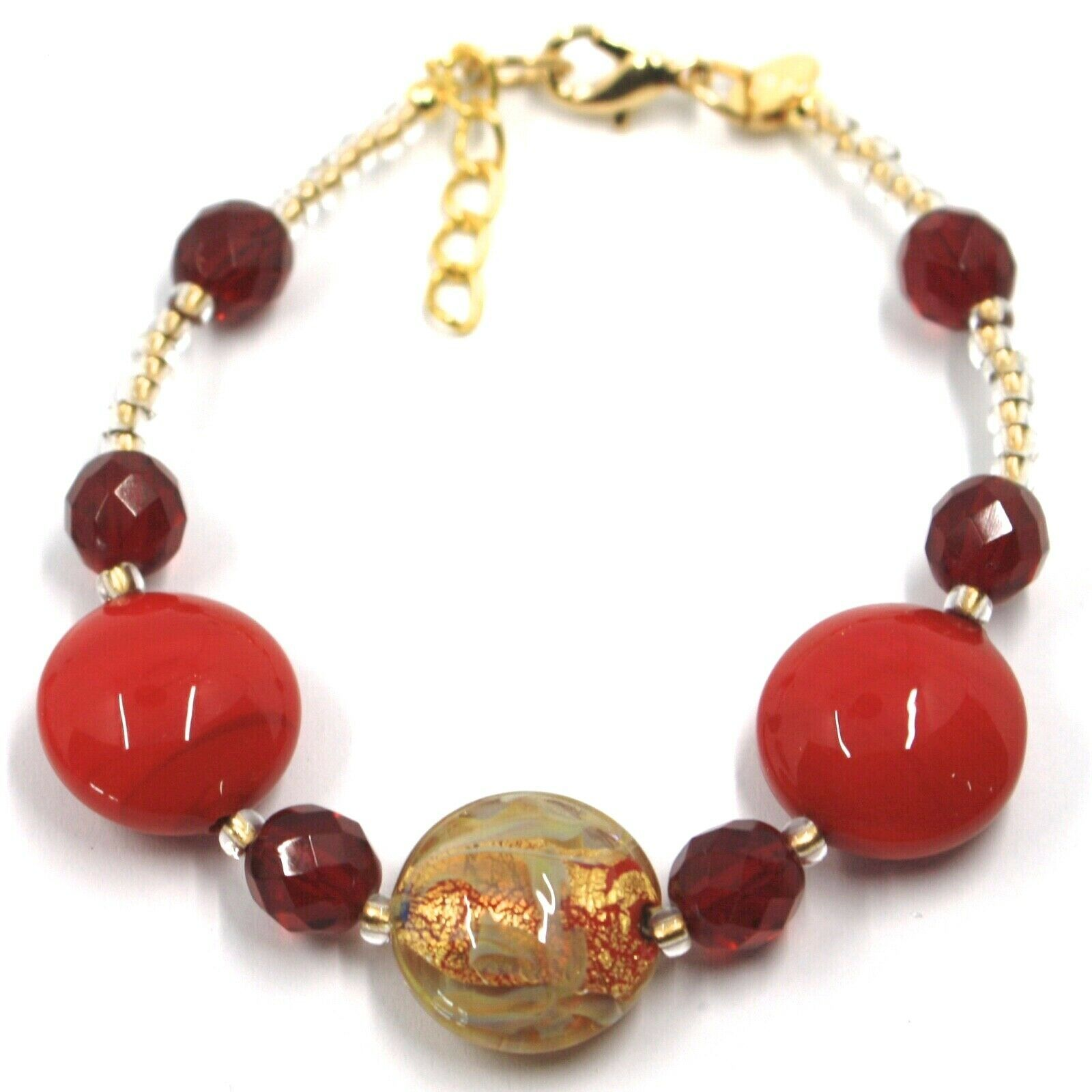 """BRACELET RED YELLOW MURANO DISC GLASS & GOLD LEAF, MADE IN ITALY, 20cm, 7.9"""""""