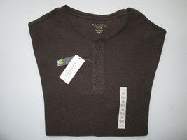 Sonoma Crewneck Long Sleeve Men Henley Thermal T-Shirt  Brown HTR Big & Tall 2XB - $16.47