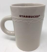 Starbucks Cream Colored Ceramic Coffee Mug Embossed Design 2010 - 10 oz - $12.19