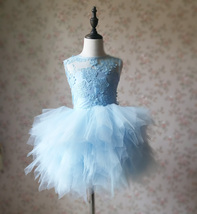 A-Line/Princess Knee-length Flower Girl Dres Blue Tulle/Lace Flowers Puffy 4-16 image 6