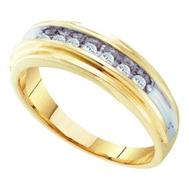 10k Yellow Two-tone Gold Mens Round Diamond Single Row Wedding Band Ring 1/4 - £450.75 GBP