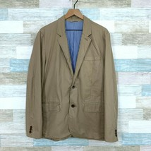 Gap Twill Chino Blazer Jacket Tan Beige 2 Button Cotton Lined Casual Mens Large - $35.63