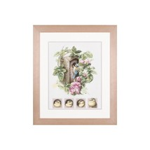 Lanarte Cross stitch collection Nestingbox with pink roses size 29x35 cm - $57.00