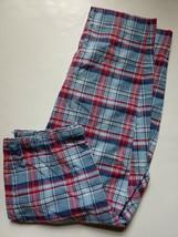 Talbots Stretch Cropped Capri Pants Womens Size 12 Blue Red Plaid Cotton... - $23.76