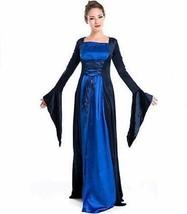Blue Renaissance Costume Gown XS Dark Blue Medieval Dress Deluxe - $62.99