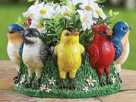 Song Birds Flower Pot Patio Garden Planter Colorful Bird Decorative Plan... - €26,32 EUR