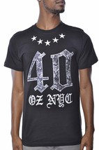 40 Oz Forty Ounce New York Roses And Stars Black T-Shirt NWT