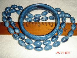 VTG URBAN GYPSY DENIM SMOKY BLUE JEAN MARBLE SWIRL LUCITE BANGLE BRACELE... - $172.99