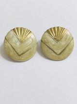 Double Elegance Seashell Yellow Button Earrings Gold Tone Posts Earrings - $9.58