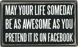Facebook Sign Humorous Quote Primitives by Kathy Black Distressed - $5.94