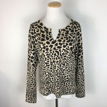 Talbots Petites Women's Cheetah Print Silk Blend Sweater V-Neck Size Large - $19.79