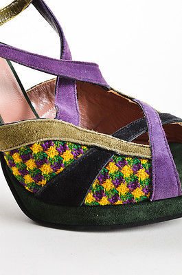Miu Miu Multicolor Suede Criss Cross Strappy Platform High Sandal Heels SZ 40