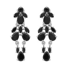 925 Sterling Silver Black Spinel Gemstone Cluster Wedding Drop Earring S... - $15.69