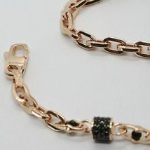 SOLID 18K ROSE GOLD BRACELET SQUARE TUBE OVAL LINK, BLACK ZIRCONIA, ITALY MADE image 3